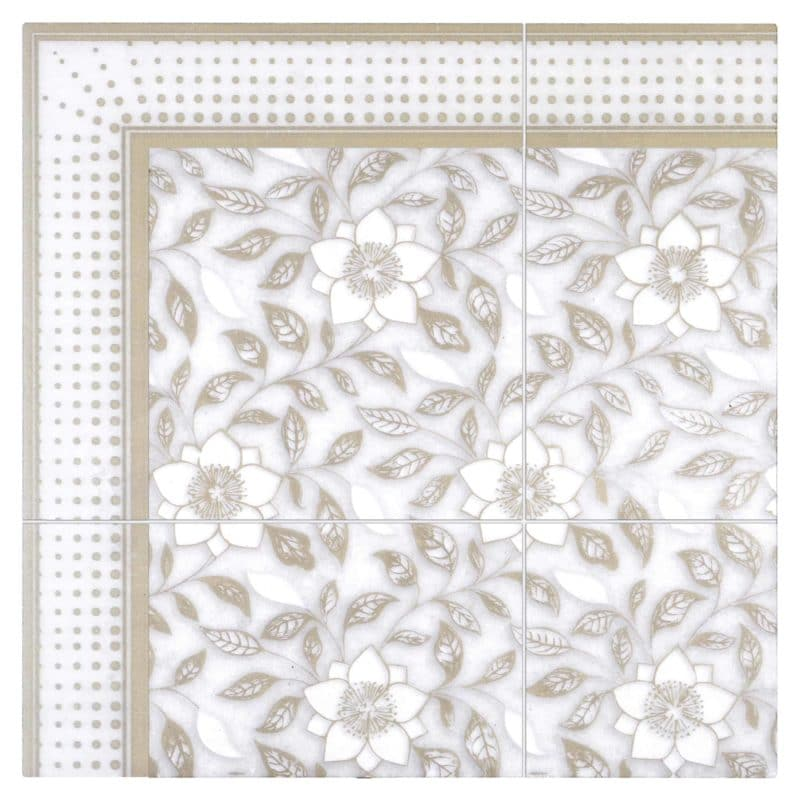 Wild Flowers (Ivory) on Arctic White Swatch