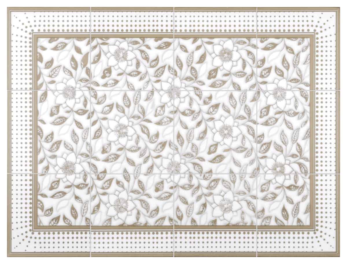 Wild Flowers Mural (Ivory) on Arctic White Product Shot
