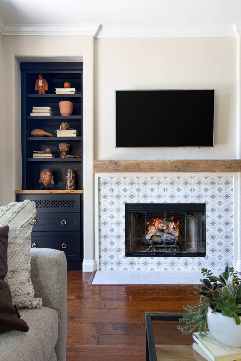Ventana pattern in deep blue on rustic fireplace