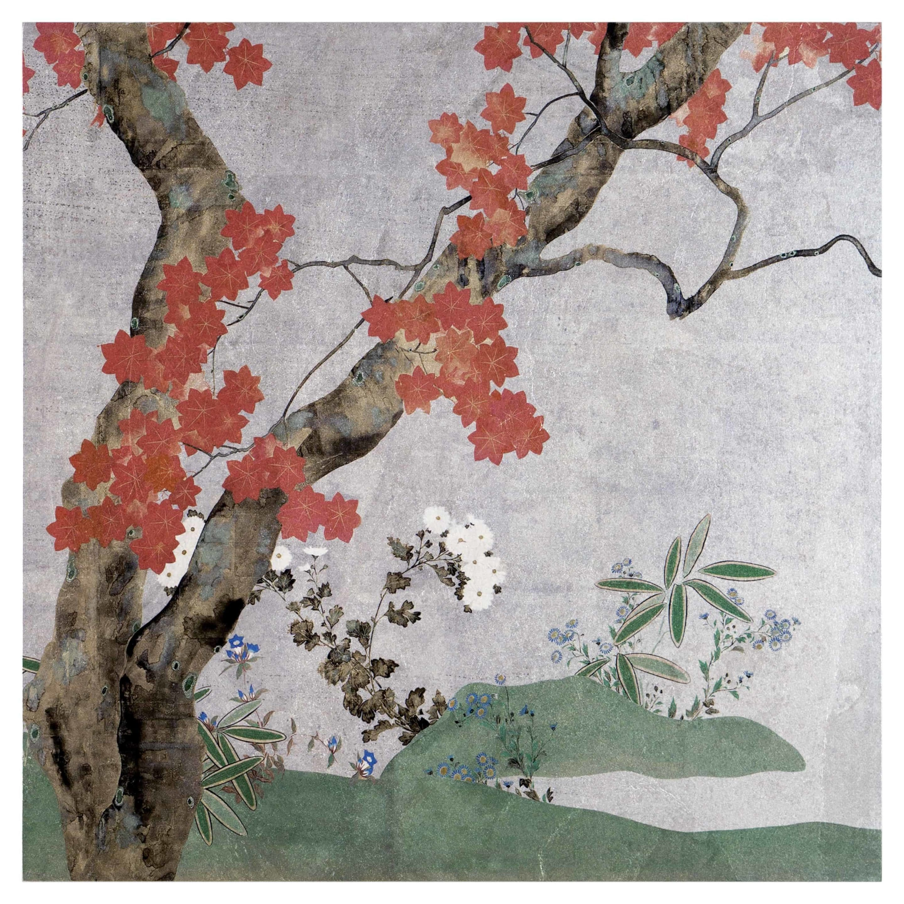 Autumn Tree Mural on Silver Luster Updated