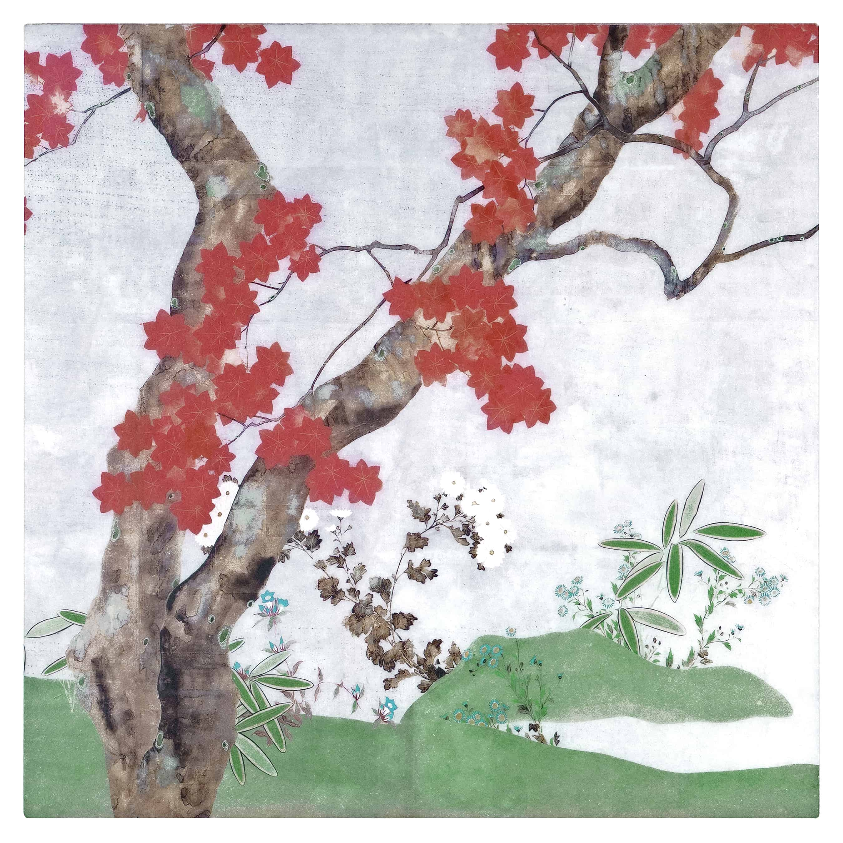 Autumn Tree Mural on Arctic White