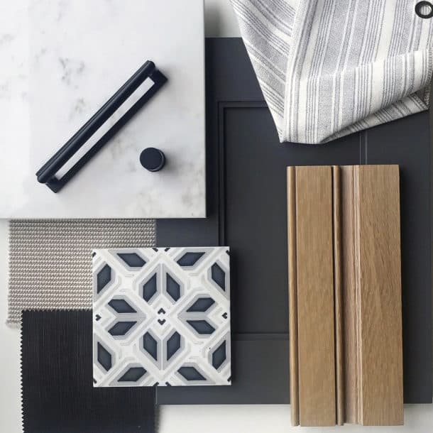 Avery (Charcoal) Flatlay with Cabinets and Fabric