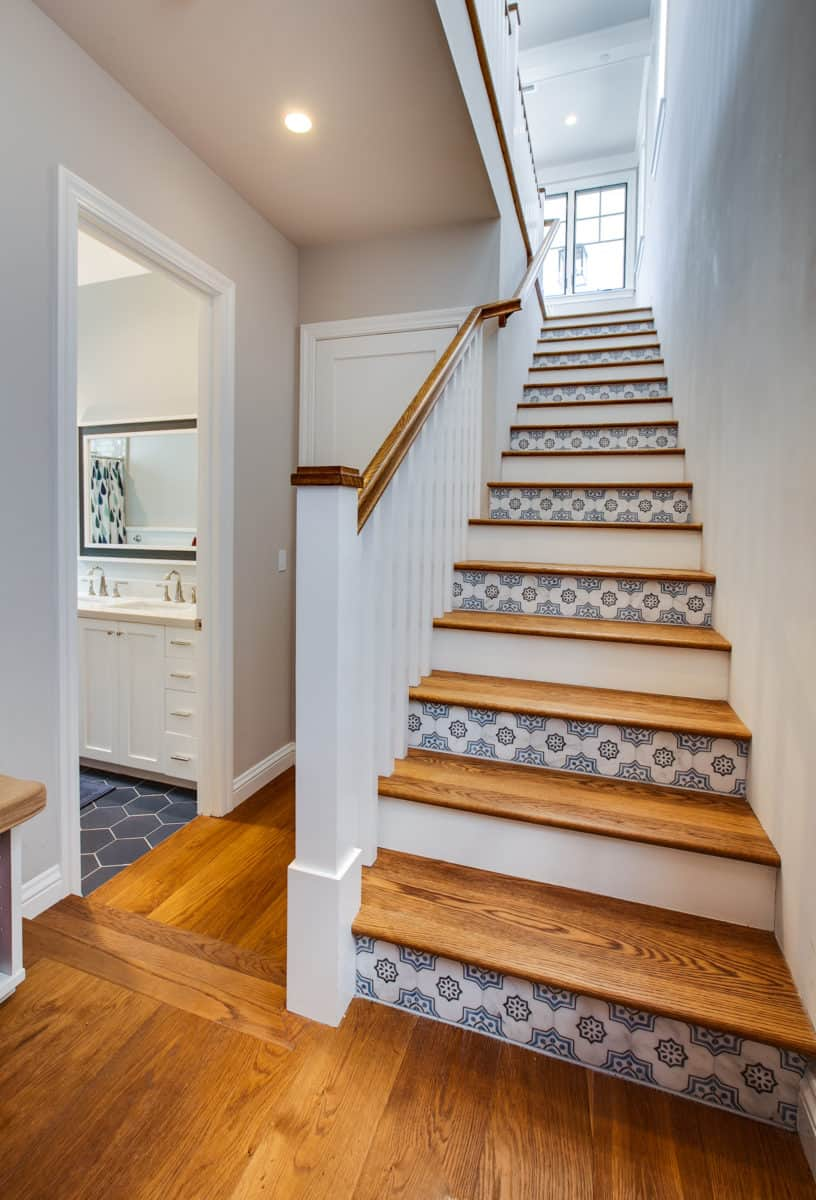 Chapman tile on carrara on stair riser