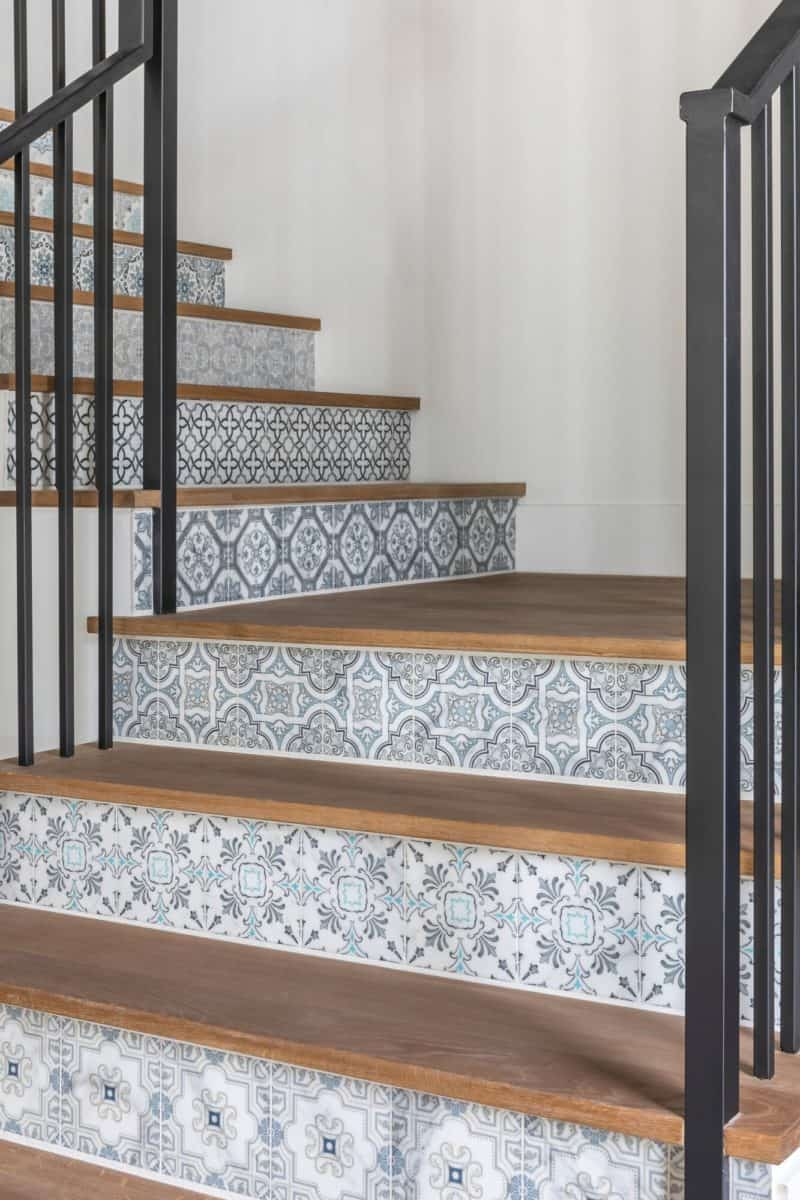 Stair risers decorative tile