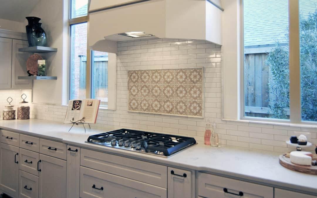 In-stock Catalina tile on 6x6 carrara in modern spanish kitchen backsplash