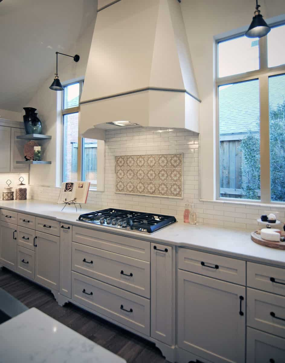 In-stock Catalina tile on 6x6 carrara in modern spanish kitchen backsplash