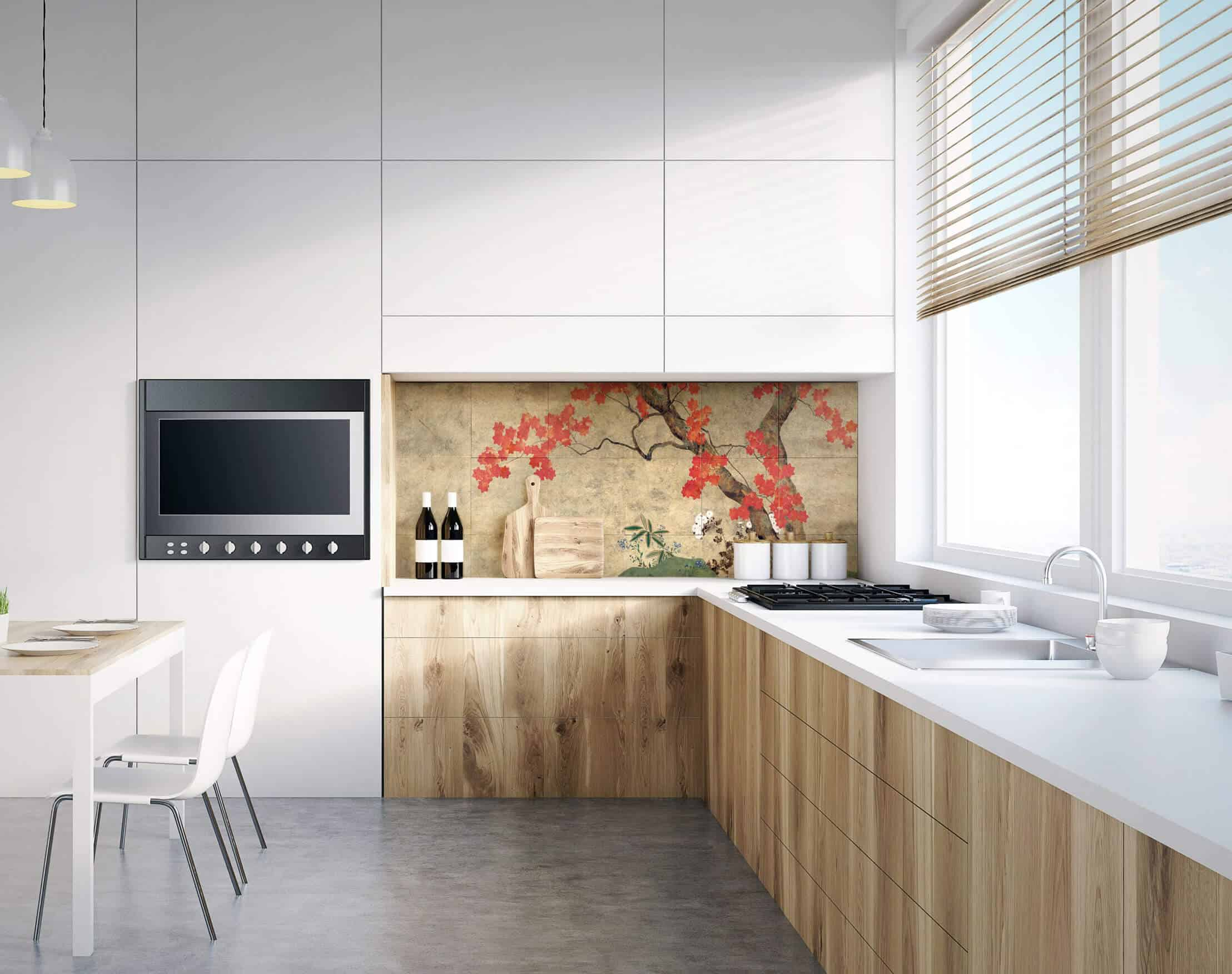 Autumn Tree Gold Luster Limestone Kitchen Install