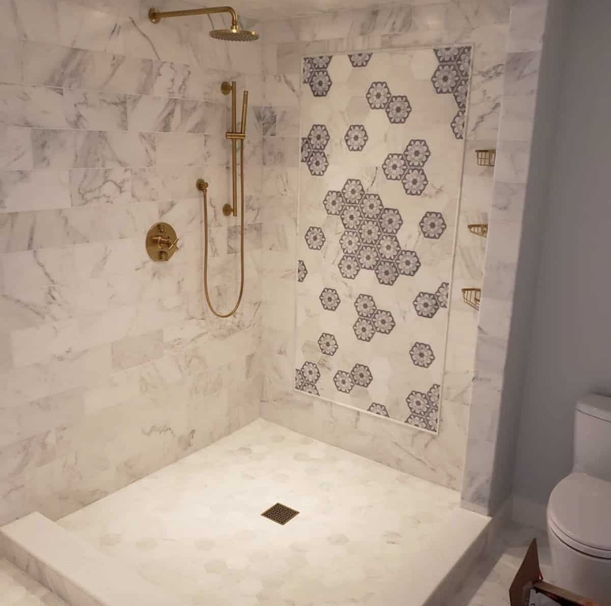 Custom shower with alston aliso hexagon tile on carrara