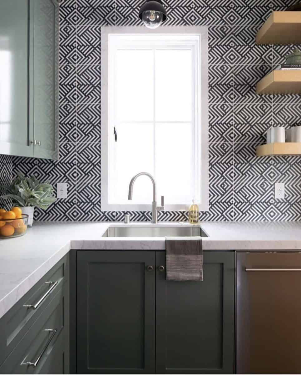 Modern Kitchen with Waterways tile in black on carrara backsplash