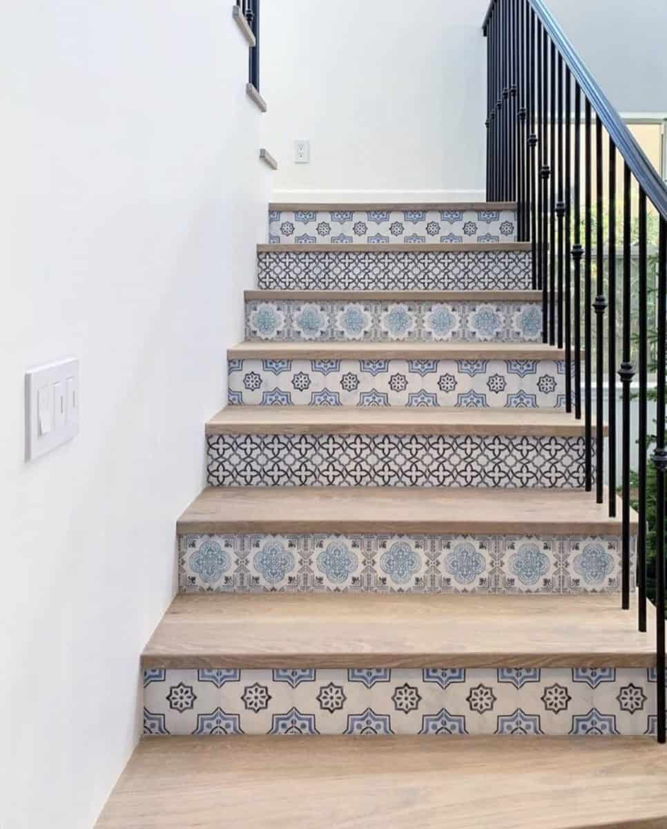 custom stair risers on carrara'