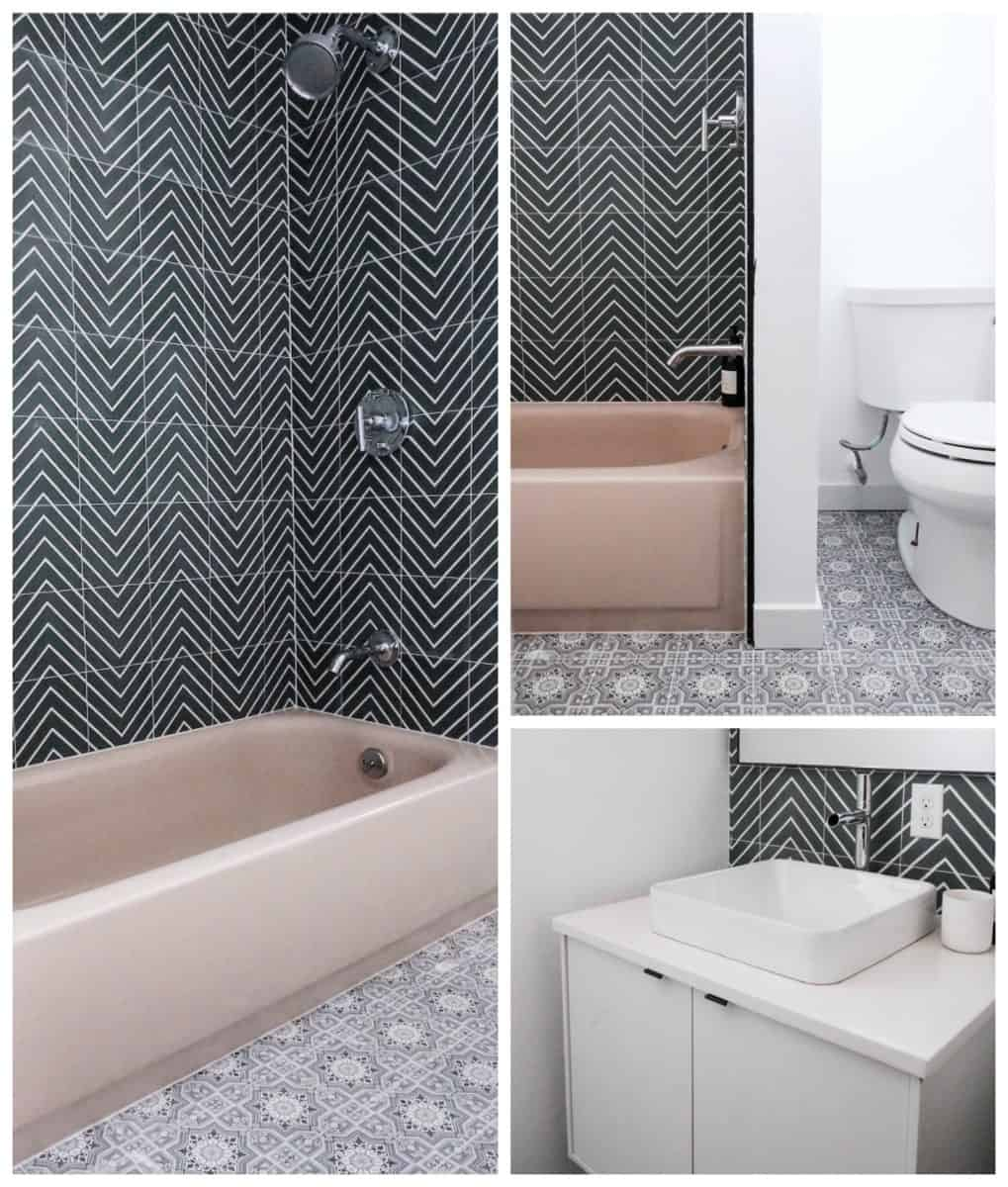bathroom renovation featuring Cabrillo pattern on 6x6 honed durango