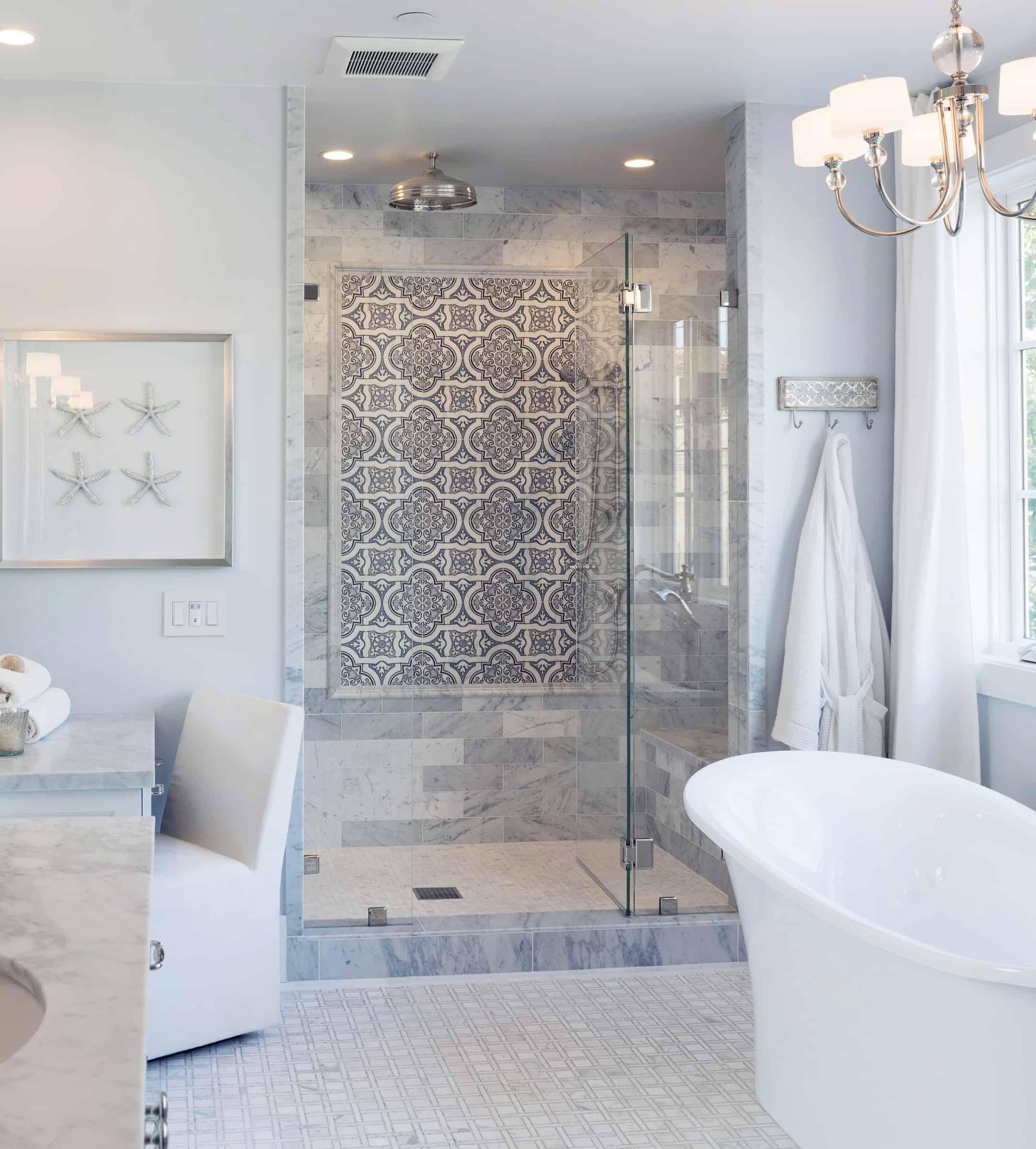 Lena backspash tile in modern master bathroom