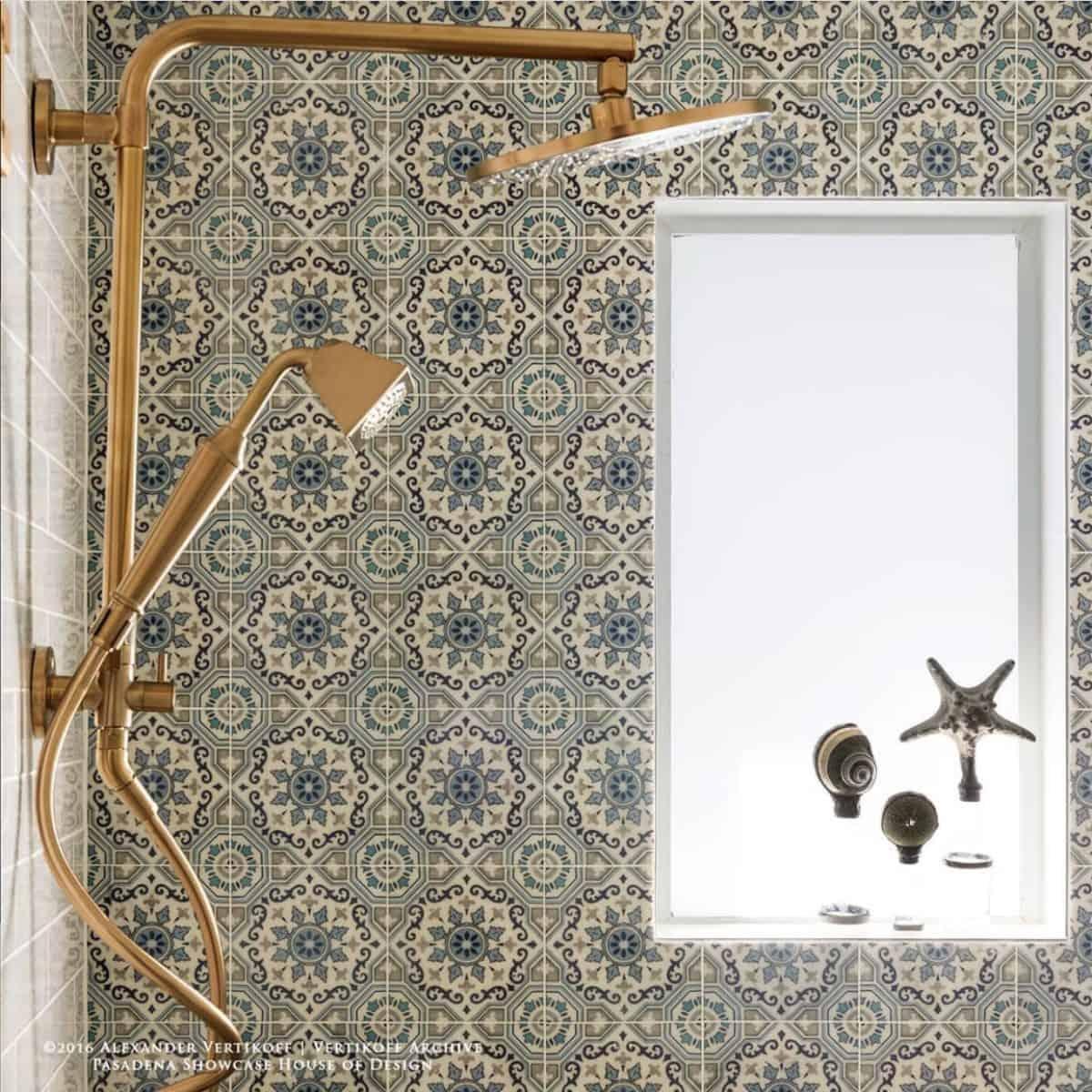 Sanza snowflake blue on carrara on shower tile backsplash