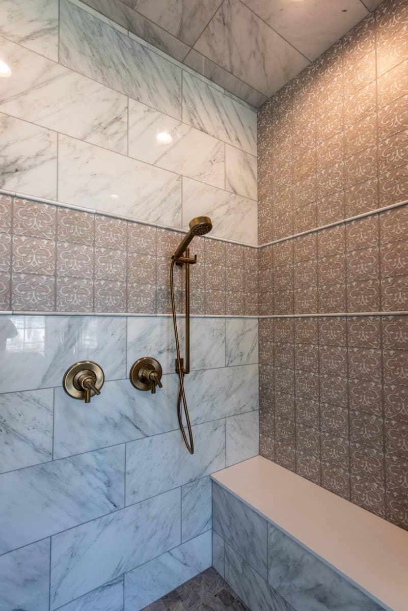 Charmed on 6x6 honed carrara on shower backsplash tile wall