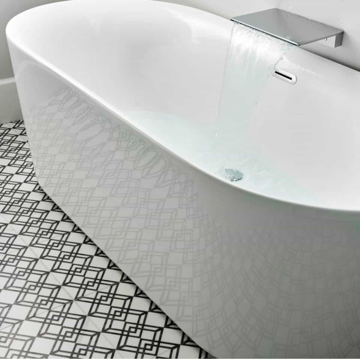 Elemental collection on honed carrara in modern master bathroom