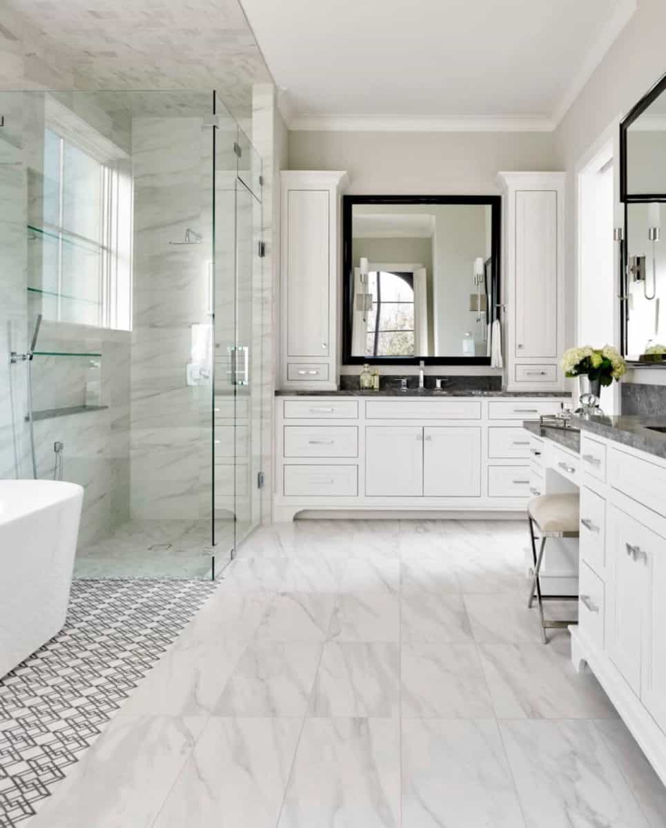 contemporary master bathroom featuring custom elemental collection on carrara