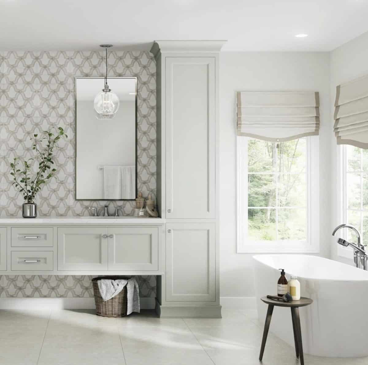 Neutral contemporary master bathroom featuring evolve pattern on carrara