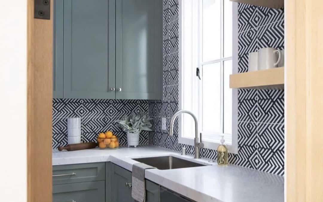 modern butlers pantry waterways tile in black on carrara