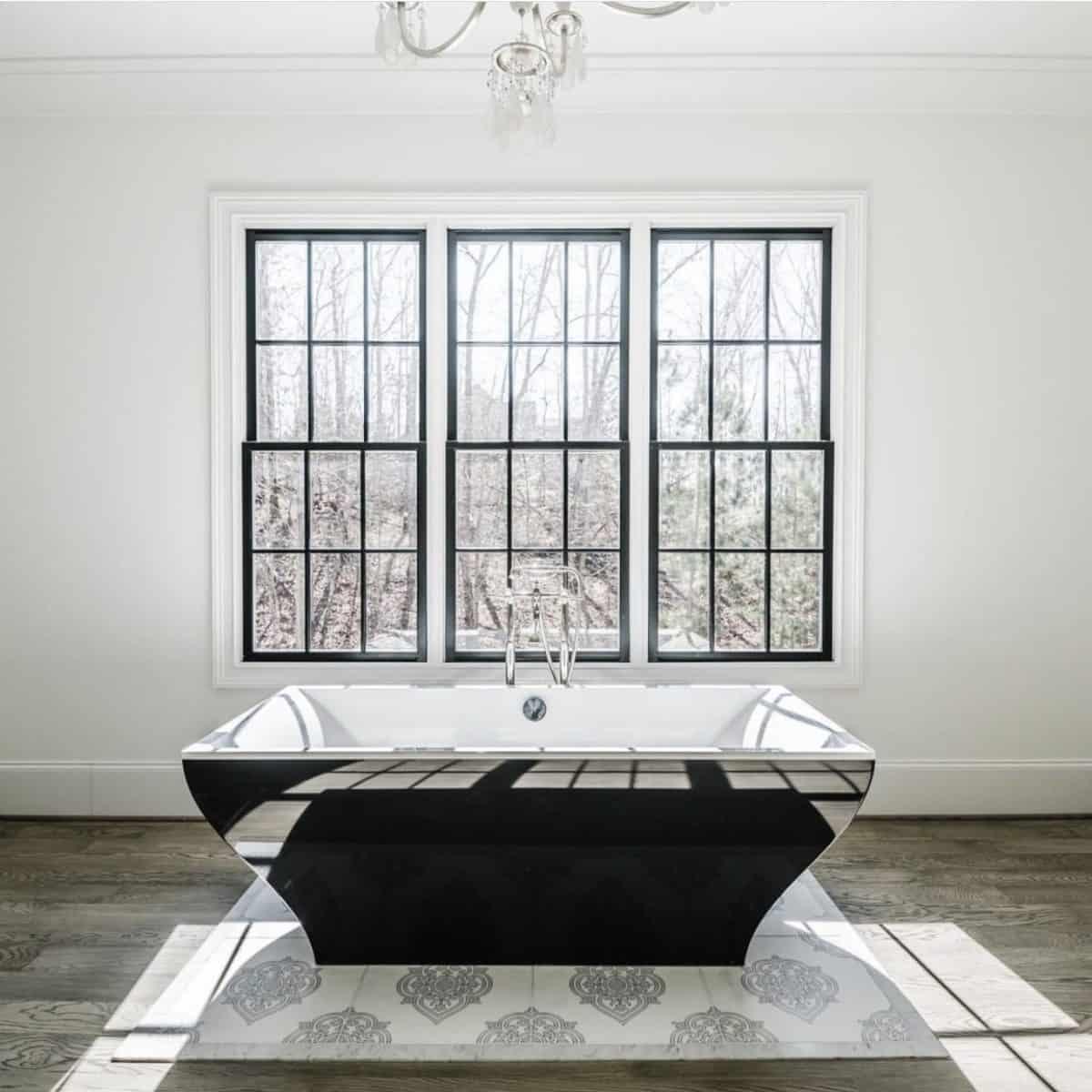 Caprice Pattern in carrara on modern master bathroom floor