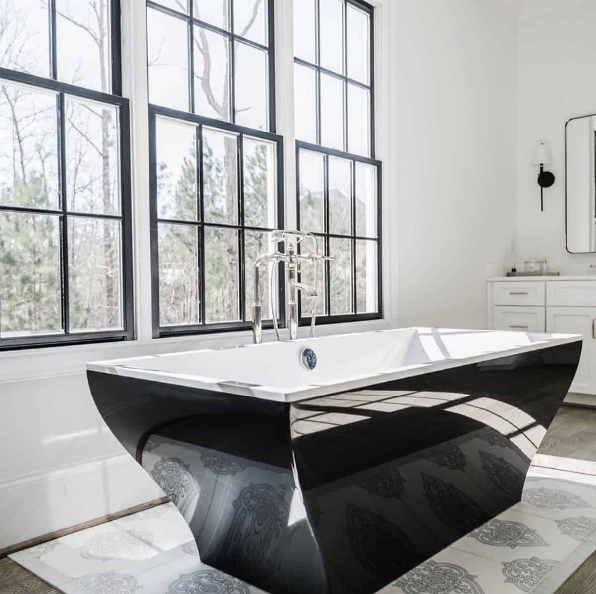 Caprice patterned tile rug in master bathroom