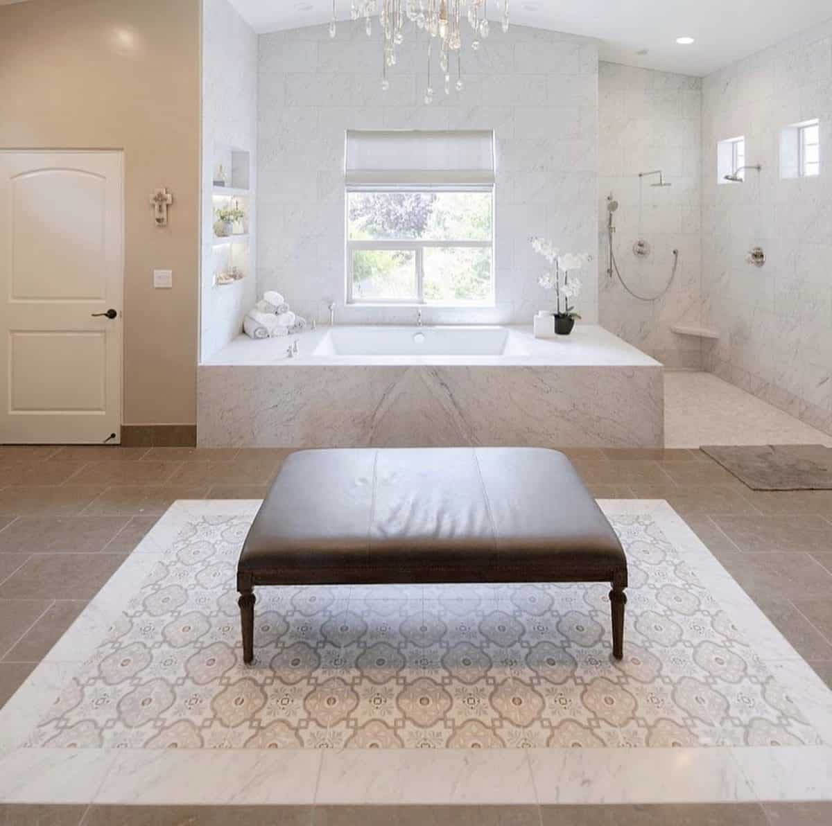 Davenport patterned tile rug in modern master bathroom