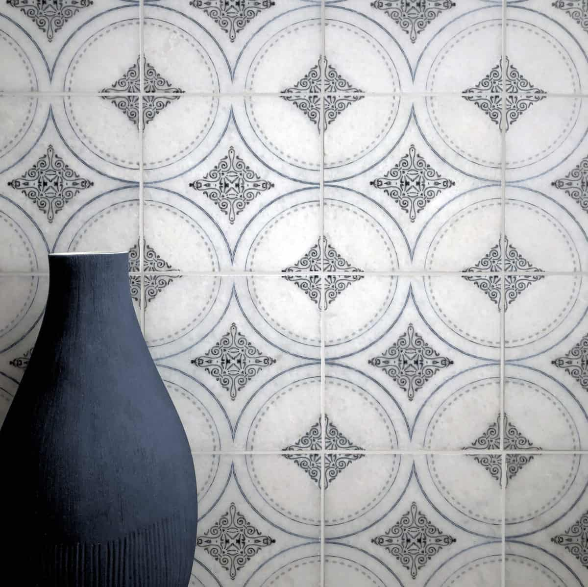 Ventana collection in Deep blue on honed arctic white tile