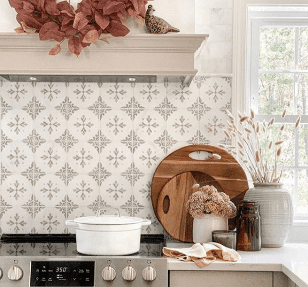 Crystal Carrara Tile Backsplash with fall accessories