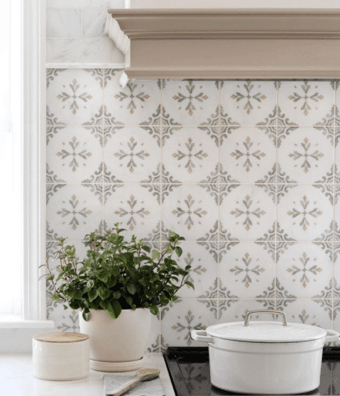 Crystal Pattern Kitchen Backsplash with hand painted tile