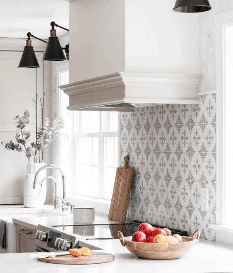 Carrara Pattern backsplash taupe