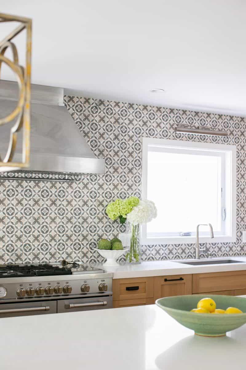 Mullholland tile in charcoal on limestone kitchen backsplash