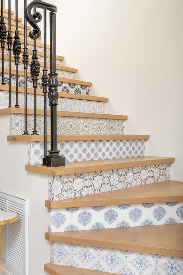 stoneimpressions patterned tiles on stair risers