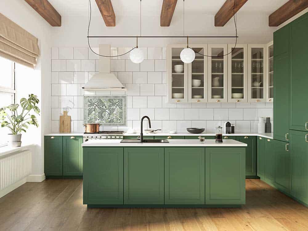 South Hampton Evergreen Mural Green Cabinets