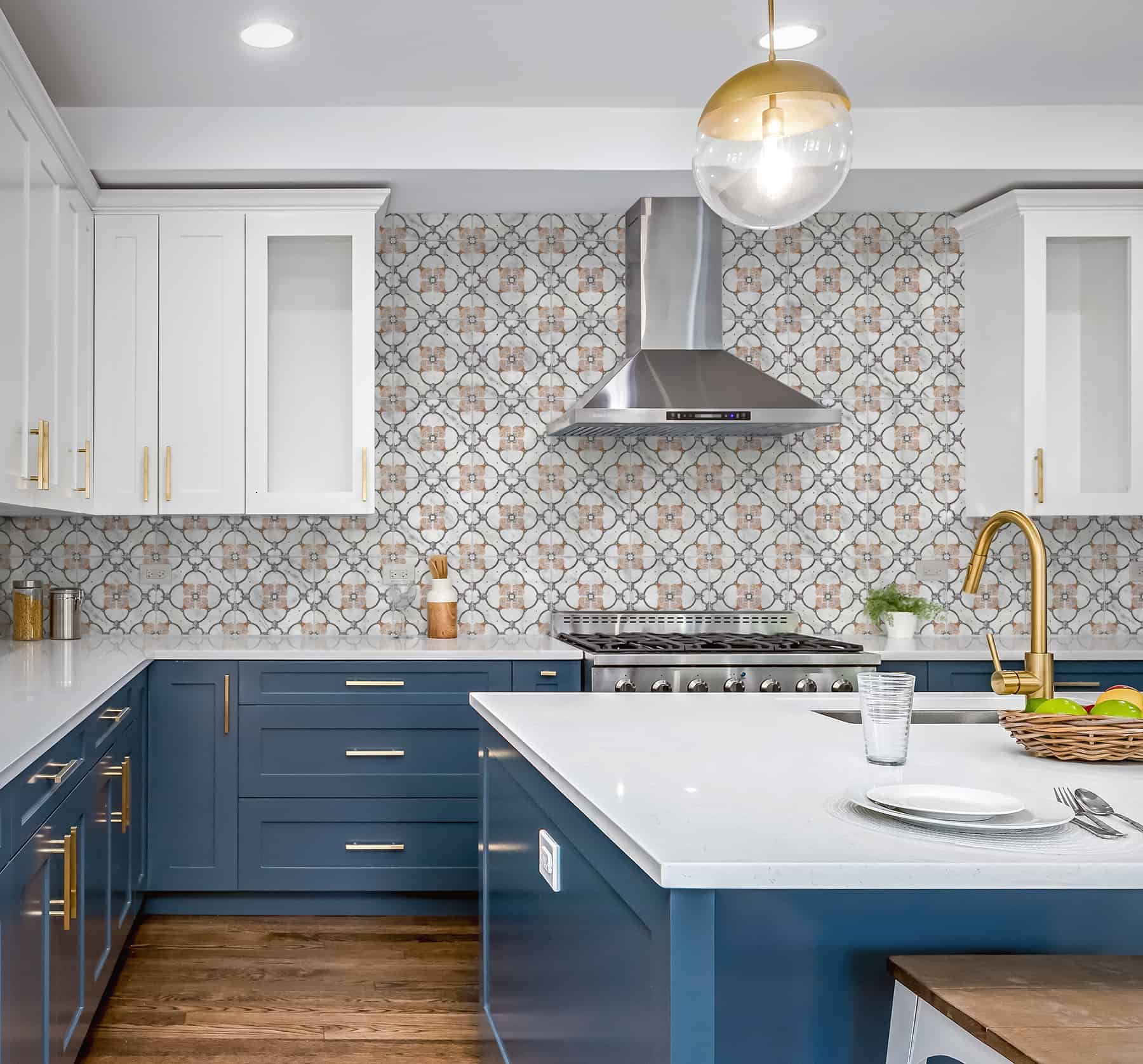 Chime (Blush) Carrara Kitchen Backsplash