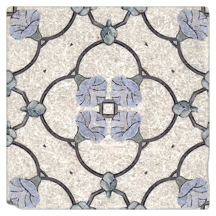 Chime Pattern (Bluebell) on Perle Blanc