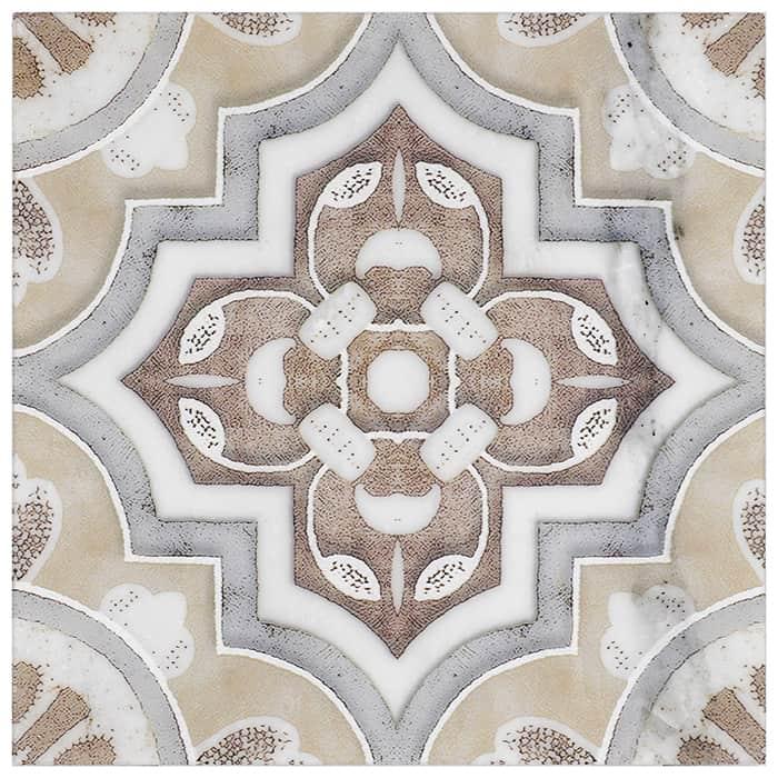 Del Rey Pattern (Sandcastle) on Carrara