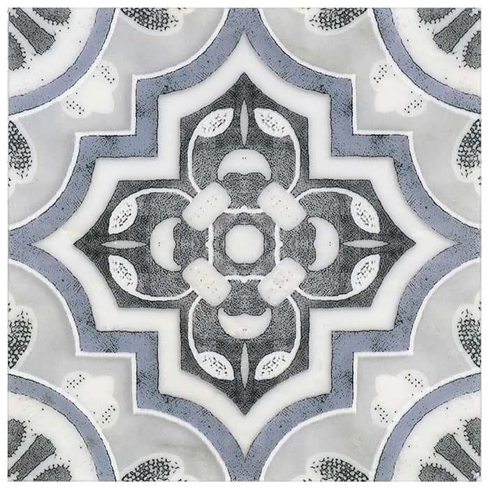 Del Rey Pattern (Sea Blue) on Carrara
