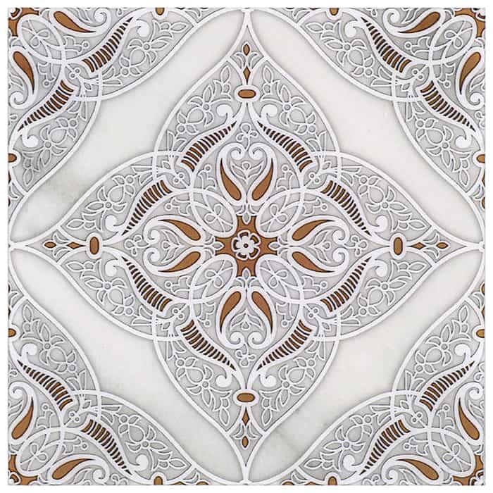 Granada Pattern (Clay) on Carrara
