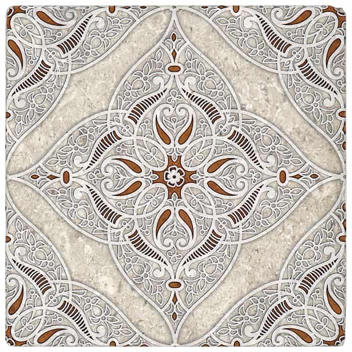 Granada Pattern (Clay) on Perle Blanc