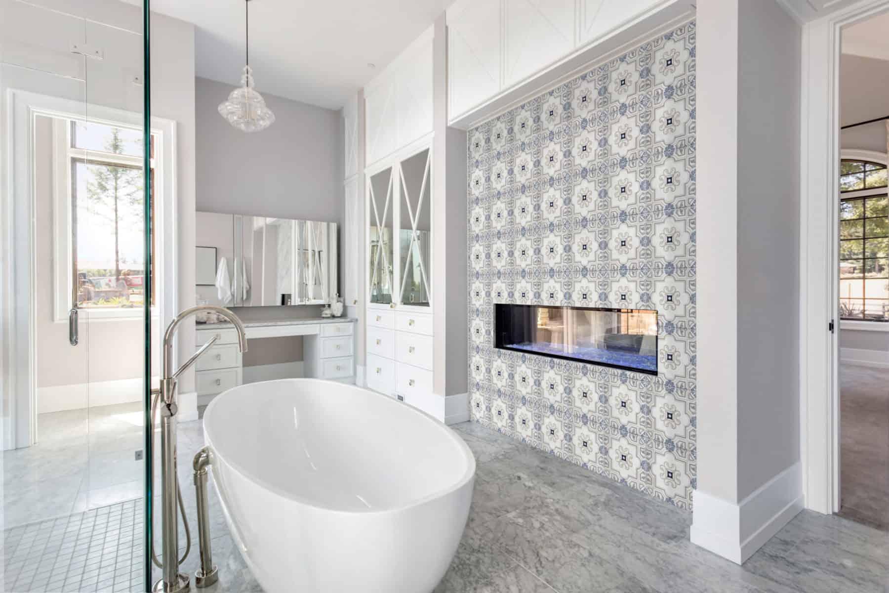 Harlan (Blue) Carrara Bathroom