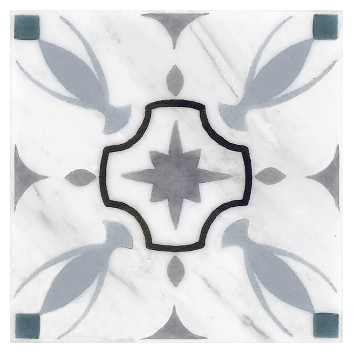 Hermosa Pattern (Blue Grey) on Carrara