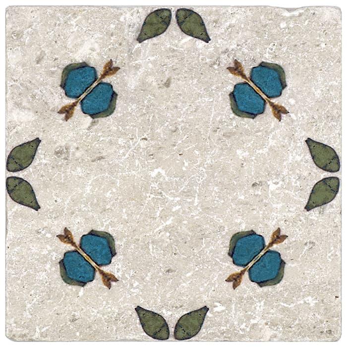Jax Pattern (Blueberry) on Perle Blanc