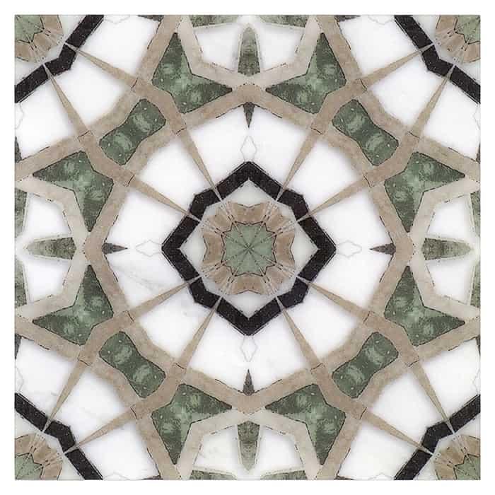 Modern Farmhouse Fiore Pattern Tile on white marble