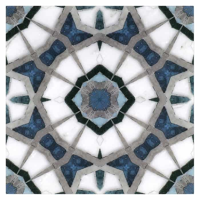 Leo Pattern (Sapphire) on Carrara