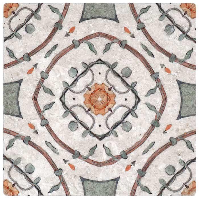Nira Pattern (Poppy) on Perle Blanc