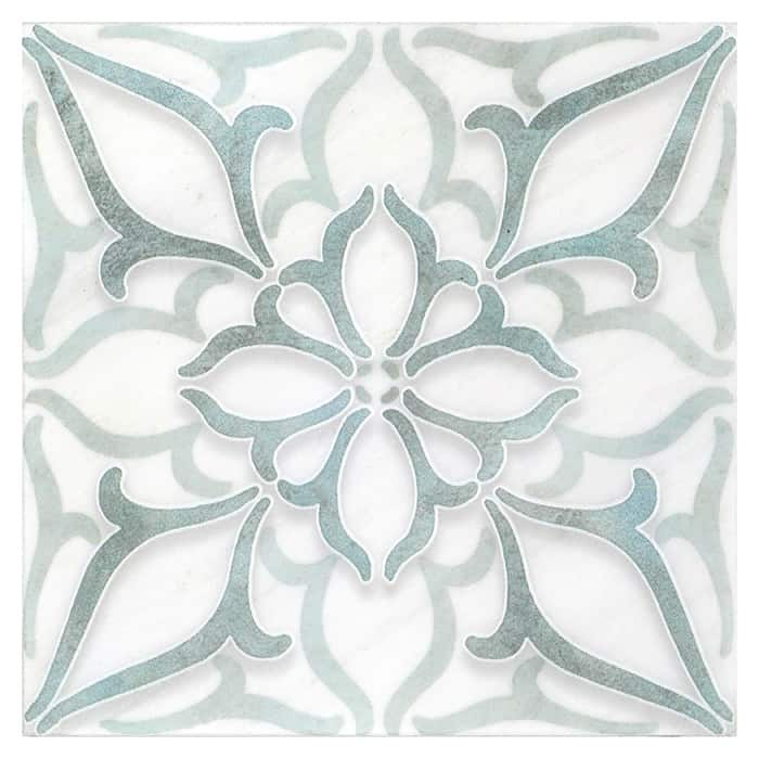Petals Pattern (Seafoam Green) on Carrara