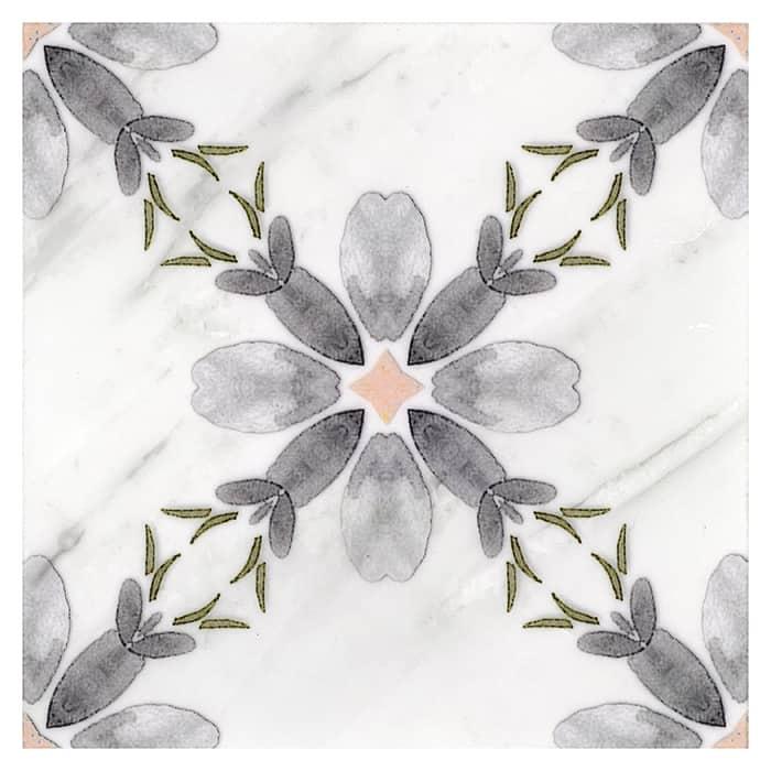 Primrose Pattern (Cinder Grey) on Carrara