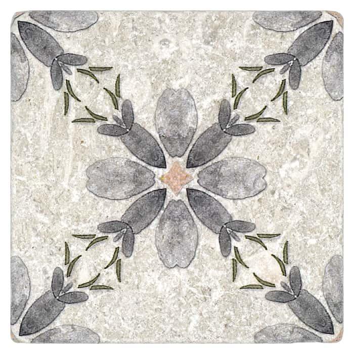 Primrose Pattern (Cinder Grey) on Perle Blanc