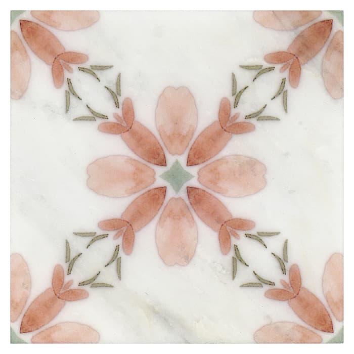 Primrose Pattern (Coral) on Carrara