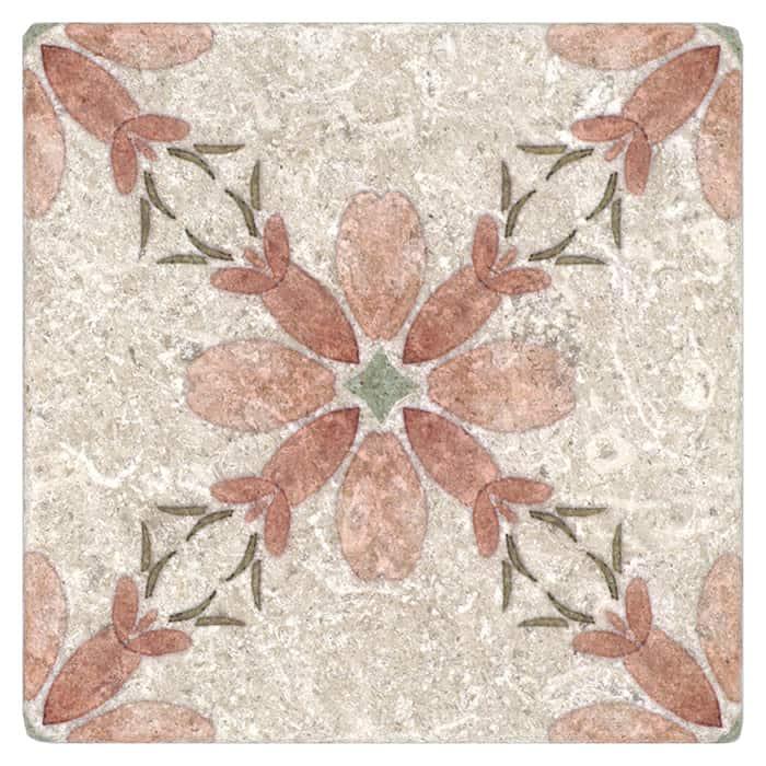 Primrose Pattern (Coral) on Perle Blanc