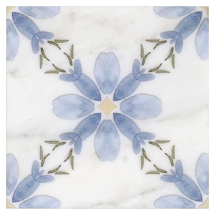 Primrose Pattern (French Blue) on Carrara